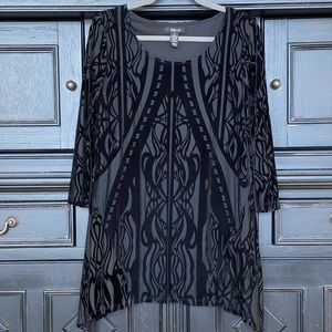 Style & Co Tunic Black Velvet Burnout M